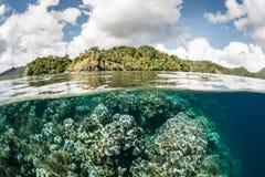 Тихие океан риф и остров Стоковые Фотографии RF