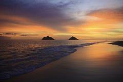 Тихий океан восход солнца в Гавайских островах Стоковое Изображение