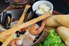Тихий океан завтрак в сковороде Стоковое Изображение RF