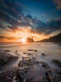 Тихий океан заход солнца на олимпийском национальном парке Стоковое Фото