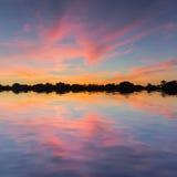 Тихое озеро на вечере Стоковая Фотография RF