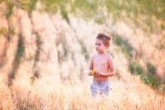 5-ти летний мальчик внешний Стоковая Фотография