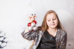 10-ти летний портрет рождества девушки Стоковые Фотографии RF