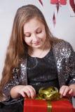 10-ти летний портрет рождества девушки Стоковая Фотография