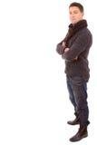 Ткани зимы молодого человека способа нося Стоковые Изображения