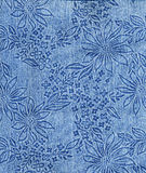 Ткань джинсов с картиной цветка Стоковое Фото