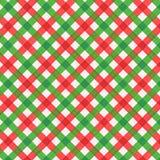 Ткань рождества красная и зеленая холстинки, безшовная включенная картина Стоковые Изображения