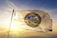 Ткань ткани ткани флага министерства армии Соединенных Штатов развевая на верхнем тумане тумана восхода солнца стоковое изображение