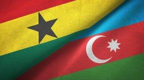 Ткань ткани флагов Ганы и Азербайджана 2, текстура ткани иллюстрация вектора