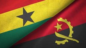 Ткань ткани флагов Ганы и Анголы 2, текстура ткани иллюстрация штока