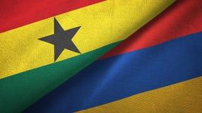 Ткань ткани флагов Ганы и Армении 2, текстура ткани бесплатная иллюстрация