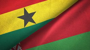 Ткань ткани флагов Ганы и Беларуси 2, текстура ткани иллюстрация штока