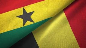 Ткань ткани флагов Ганы и Бельгии 2, текстура ткани иллюстрация вектора