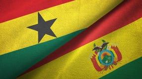 Ткань ткани флагов Ганы и Боливии 2, текстура ткани иллюстрация вектора