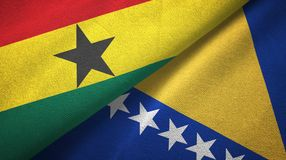 Ткань ткани флагов Ганы и Боснии и Герцеговины 2, текстура ткани иллюстрация вектора