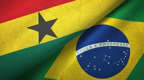Ткань ткани флагов Ганы и Бразилии 2, текстура ткани иллюстрация вектора