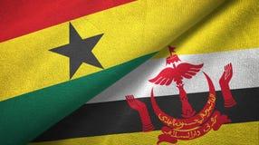 Ткань ткани флагов Ганы и Бруней 2 иллюстрация вектора