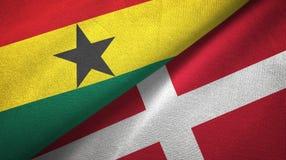 Ткань ткани флагов Ганы и Дании 2, текстура ткани иллюстрация штока