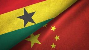 Ткань ткани флагов Ганы и Китая 2, текстура ткани бесплатная иллюстрация
