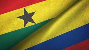 Ткань ткани флагов Ганы и Колумбии 2, текстура ткани иллюстрация штока