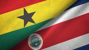 Ткань ткани флагов Ганы и Коста-Рика 2, текстура ткани иллюстрация штока