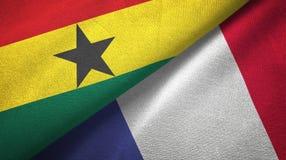 Ткань ткани флагов Ганы и Франции 2, текстура ткани иллюстрация штока