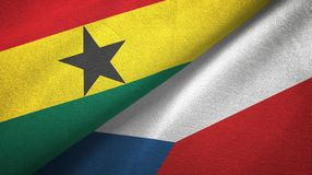 Ткань ткани флагов Ганы и чехии 2, текстура ткани иллюстрация штока