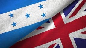 Ткань ткани флагов Гондураса и Великобритании 2, текстура ткани иллюстрация вектора