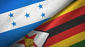 Ткань ткани флагов Гондураса и Зимбабве 2, текстура ткани иллюстрация вектора