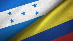 Ткань ткани флагов Гондураса и Колумбии 2, текстура ткани иллюстрация вектора