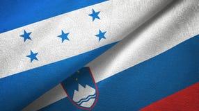 Ткань ткани флагов Гондураса и Словении 2, текстура ткани иллюстрация вектора