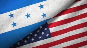 Ткань ткани флагов Гондураса и Соединенных Штатов 2, текстура ткани иллюстрация штока