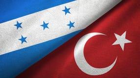 Ткань ткани флагов Гондураса и Турции 2, текстура ткани иллюстрация вектора