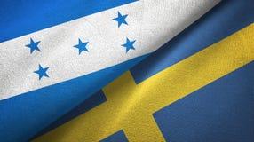 Ткань ткани флагов Гондураса и Швеции 2, текстура ткани иллюстрация штока