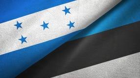 Ткань ткани флагов Гондураса и Эстонии 2, текстура ткани иллюстрация вектора
