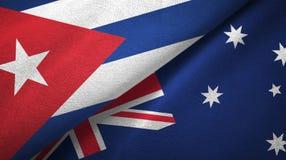 Ткань ткани флагов Кубы и Австралии 2, текстура ткани иллюстрация штока