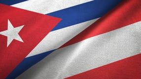 Ткань ткани флагов Кубы и Австрии 2, текстура ткани бесплатная иллюстрация