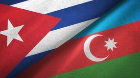 Ткань ткани флагов Кубы и Азербайджана 2, текстура ткани иллюстрация штока