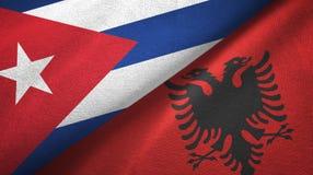 Ткань ткани флагов Кубы и Албании 2, текстура ткани бесплатная иллюстрация