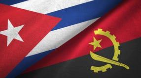 Ткань ткани флагов Кубы и Анголы 2, текстура ткани иллюстрация вектора
