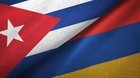 Ткань ткани флагов Кубы и Армении 2, текстура ткани иллюстрация вектора