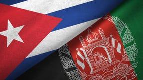 Ткань ткани флагов Кубы и Афганистана 2, текстура ткани иллюстрация штока