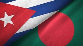 Ткань ткани флагов Кубы и Бангладеша 2, текстура ткани иллюстрация вектора