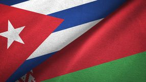 Ткань ткани флагов Кубы и Беларуси 2, текстура ткани иллюстрация вектора