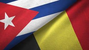 Ткань ткани флагов Кубы и Бельгии 2, текстура ткани иллюстрация вектора