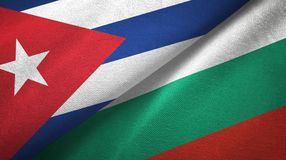 Ткань ткани флагов Кубы и Болгарии 2, текстура ткани бесплатная иллюстрация