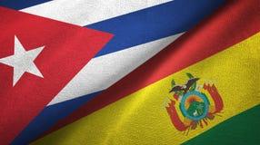 Ткань ткани флагов Кубы и Боливии 2, текстура ткани иллюстрация вектора