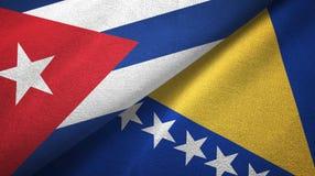 Ткань ткани флагов Кубы и Боснии и Герцеговины 2, текстура ткани бесплатная иллюстрация