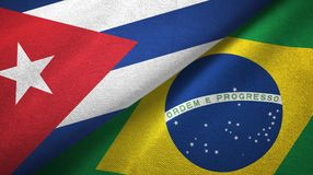 Ткань ткани флагов Кубы и Бразилии 2, текстура ткани иллюстрация вектора