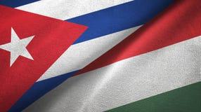 Ткань ткани флагов Кубы и Венгрии 2, текстура ткани иллюстрация вектора